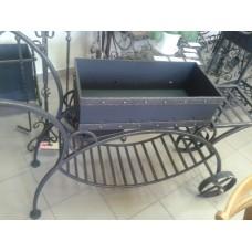 Мангал кованый из стали в виде тележки с колёсами - модель №8
