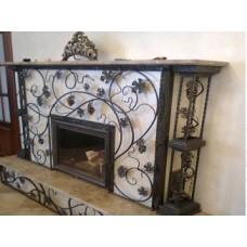 Решетка для камина из стали с дверцей-экраном, мод.№7