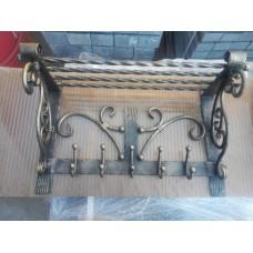 Вешалка настенная с 5 крючками и полочкой - модель №5