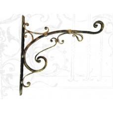 Кованый стальной полочный уголок, цвет: черный с золотом, арт. № У-0106
