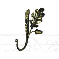 Настенная вешалка с лепестком из кованой стали, цвет: черно-золотистый, арт. № В-0102
