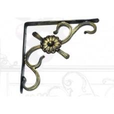 Полочный уголок с кованым цветком, цвет – бронза, арт. № У-0103