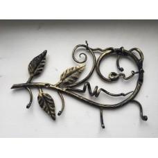 Вешалка настенная из стали на 4 крючка, цвет: бронза, арт. № В-0105