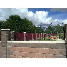 Кованый комбинированный забор с цветочными элементами - модель №2