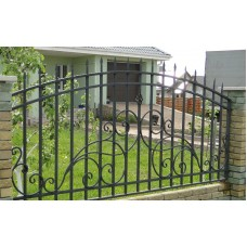 Забор кованый прозрачный с завитками - модель №4
