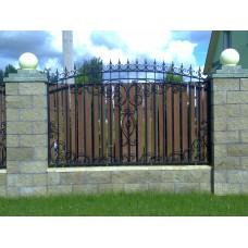 Забор кованый полукруглый с пиками, украшенный завитками, мод.№8