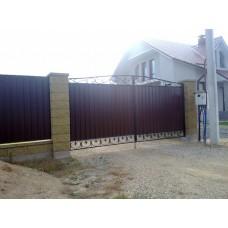 Кованые коричневые ворота из стали, мод.№13