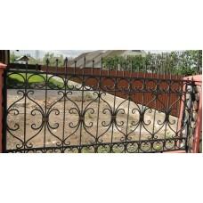 Забор кованый металлический с оригинальными вставками, мод.№10