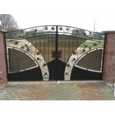 Ворота распашные, кованые, чёрного цвета, из стали, с гроздьями винограда, мод.№4