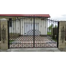 Ворота кованые из стали, красивый дизайн классический, с пиками, мод.№3
