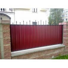 Забор из профнастила с коваными пиками, мод.№12