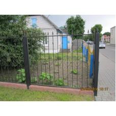Забор римский черного цвета с коваными украшениями, мод.№11