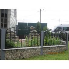 Забор кованый полукруглый с завитками и корзинками, мод.№6